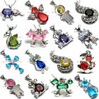 BPEM0302 MANY COLORS & STYLES SILVER PLATED CZ CUBIC ZIRCONIA GEMSTONE PENDANT