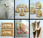 WOODEN CRAFT EMBELLISHMENTS CARD TOPPERS BABY DAISY HOUSE DRESS HARP SHEEP