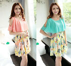 Womens Sweet Off-Shoulder Princess Sleeve Floral 2 Layers Dress With Belt D311