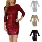 Women Sequins Dress Prom Evening Gown Bodycon Party Bridesmaid Mini Dress G31
