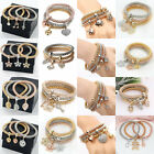 3PCS Fashion Gold Silver Plated Crystals Cuff Bangle Charm Elastic Bracelet
