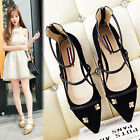 2017 Fashion Womens Suede Pointy Toe Flats Strap Party Casual Shoes Zip Sandals