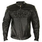 Xelement Mens Armored Leather Motorcycle Jacket with Skull Embroidery