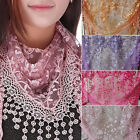 Fashion Women's Lace Rose Floral Mantilla Triangle Hollow Shawl Wraps Scarf New