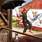 Walking The Tightrope By Stevan Dohanos Painting Print On Wrapped Canvas