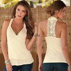 New Sexy Women Summer Halter Deep V-neck Lace Vest Tank Top Sleeveless T-S TXCL
