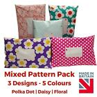 MIX PACK Post Postal Plastic Poly Mailing Bags Printed - Polka Dot Floral Stars