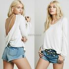 Sexy Women Loose Tops Blouse Lady T-shirt Backless Solid Long Sleeve White K0E1