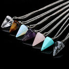 CHIC Natural Gemstone Crystal Healing Chakra Reiki Silver Stone Pendant Necklace