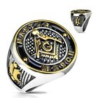 "Stainless Steel Gold & Black Masonic Symbol ""MASTER MASON"" Ring Size 9-13"