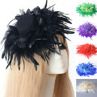 women large hat party wedding fascinator feathers flowers hair clips accessory