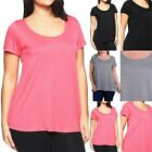 Junior Plus Size- Solid Basic Short Sleeve Scoop Neck T Shirt Rayon 1XL 2XL 3XL