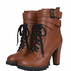 idomcats LADIES WOMENS ARMY COMBAT GRIP SOLE HIGH HEEL ANKLE BOOTS SHOES SIZE