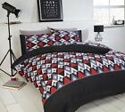 Signature Geometric Conard Duvet Set in Red Available in Single, Double and King