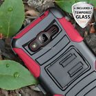 For Samsung Galaxy J3/Amp Prime Hybrid Case Belt Clip Holster Stand+Glass Screen