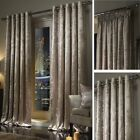 TAUPE Plush Crushed Velour Faux Velvet Pencil Pleat / Eyelet Ring Top Curtains