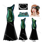 Long Sequin Flapper Gatsby Wedding Party Formal Evening Cocktail Dress Ball Gown
