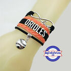BALTIMORE ORIOLES Leather Woven Infinity Bracelet ** FREE SHIPPING