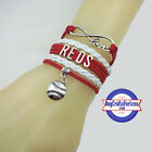CINCINNATI REDS Leather Woven Bracelet-ChOOse Charm **FREE SHIPPING