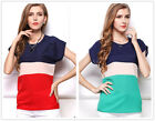 New Women's Three Colors Chiffon Loose Party Short Sleeve T Shirt Tops Blouse