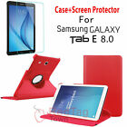 Rotating Stand Case + Tempered Glass Screen Protector For SAM Galaxy Tab E 8.0