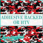 Red & Black Classic Camo Pattern Adhesive Craft Vinyl or HTV for Crafts Shirts
