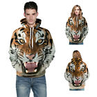 Cool  Men 3D Tiger Print Hoodie Loose Sport Cardigan Women Hooded Pullover
