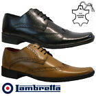 MENS LAMBRETTA REAL LEATHER CASUAL FORMAL BROGUE OXFORD OFFICE WEDDING SHOES