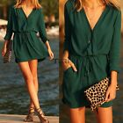 Womens V Neck Long Sleeve Casual Evening Party Cocktail Chiffon Tunic Mini Dress