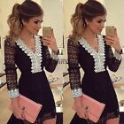 Women Lace V Neck Casual Party Cocktail Evening Mini Dress Bodycon Tunic Dress
