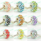 AB CRYSTAL RESIN 925 STERLING SILVER CORE BEAD FIT CHARMS BRACELET DIY JEWELRY