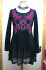 %SHOP SALE% COLINE BLACK PINK LONG SLEEVED TUNIC WITH TIERED LACE HEM S M L NWT