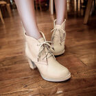 New Women's Autumn Fashion Lace Up Sweet Block Heel Ankle Boots Shoes Plus Size