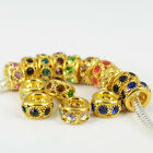 Crystal Golden Plated Spacer Charms Beads Fit European DIY Bracelets 10/12/14mm
