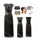 Gold Sequins 1920s Flapper Gatsby Wedding Party Long Formal Evening Prom Dress