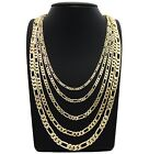 "Mens italian Figaro link Chain 14k Gold Plated 3mm to 7mm 18"" 20"" 24"" 30"""
