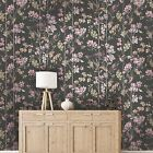 Holden Decor Charm Charcoal Dusky Pink Humming Bird Wallpaper 12393