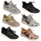Ladies Trainers Womens Lace Up Patent Running Gym Glitter Lightweight Shoes New