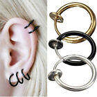 2PCS Fake Nose Lips Ring Spring Clip On Hoop Earring Unisex Goth Piercing Septum