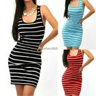 Sexy Women Summer Striped Sleeveless Bodycon Slim Mini Dress Long Vest Tank Tops