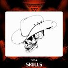 Airbrush stencil template Cowboy  SKULL 64 - 4 SIZES AVAILABLE MINI MID XL XXL