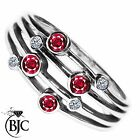 BJC® 9ct White gold Ruby & Diamond Bespoke Raindance Rub Set Dress Ring