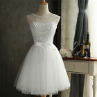 White/Champagne Crystal Short Formal Dress Women Prom Party Dress For Bridesmaid