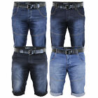 Mens Denim Shorts Crosshatch BELT Knee Length Roll Up Faded Casual Summer New