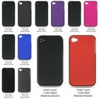Hard Hybrid Dual Layer Rubber Coated Silicone Shockproof Case For Apple iPhone 4