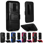 For LG K8V / K8 V (VS500) Cell Phone Case Hybrid Hard Cover + Belt Clip Holster