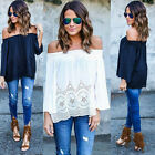 Fashion Women Summer Lace Chiffon Blouse Off Shoulder Loose Casual T Shirt Tops