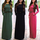 Fashion Women Casual Long Sleeve Belted Party Evening Cocktail Long Maxi Dress A
