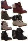 Womens Military Ankle boot sock Fur detail Combat sole and Brogue Size