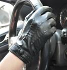 Men's Touch Screen Genuine Sheep Leather Gloves 3 Lines F409 Black